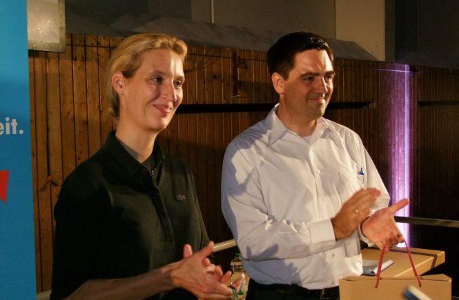 Dr. Malte Kaufmann und Dr. Alice Weidel (AfD) in Schriesheim