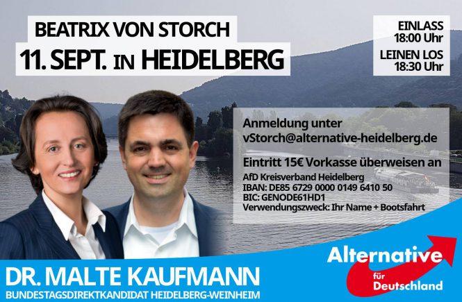 Beatrix von Storch MdEP und Dr. Malte Kaufmann (AfD) in Heidelberg