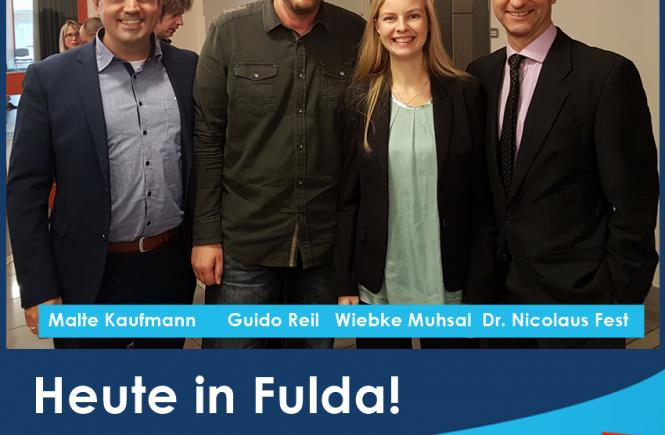 Dr. Malte Kaufmann, Guido Reil, Wiebke Muhsal und Dr. Nicolaus Fest in Fulda