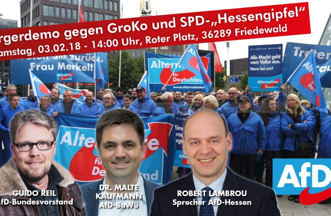 AfD-Demo mit Dr. Malte Kaufmann, Robert Lambrou und Guido Reil