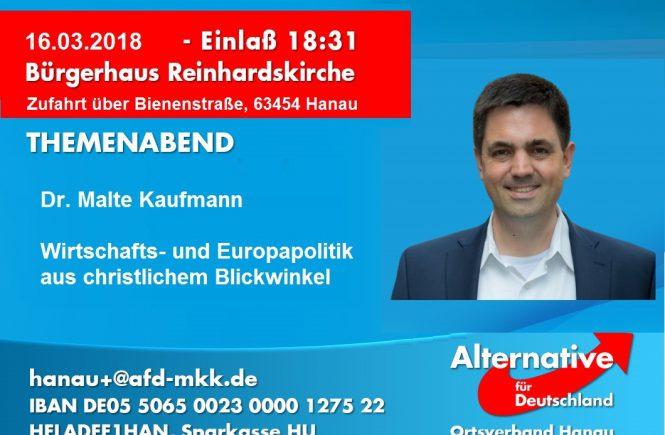 Dr. Malte Kaufmann AfD in Hanau am 16.3.2018