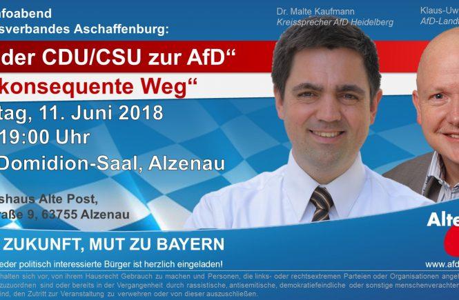 Dr. Malte Kaufmann und Klaus-Uwe Junker in Alzenau Bayern AfD