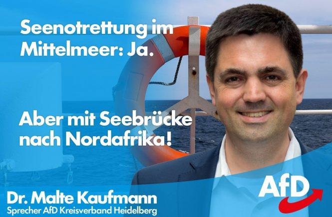 Dr. Malte Kaufmann AfD Seenotrettung ja -aber mit Seebrücke nach Nordafrika