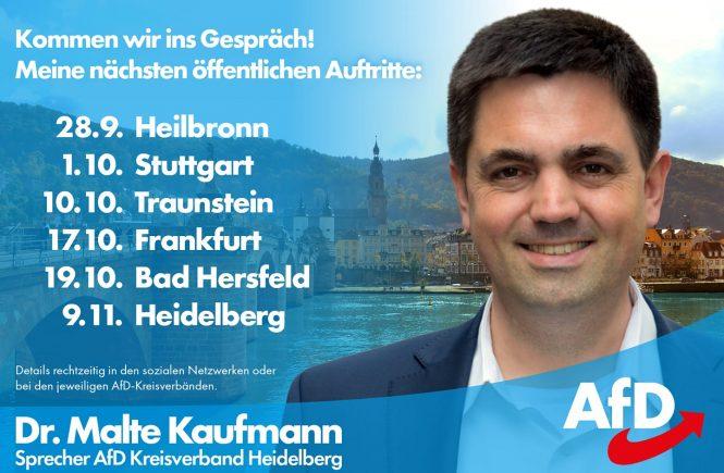 Dr. Malte Kaufmann AfD öffentliche Auftritte Herbst 2018