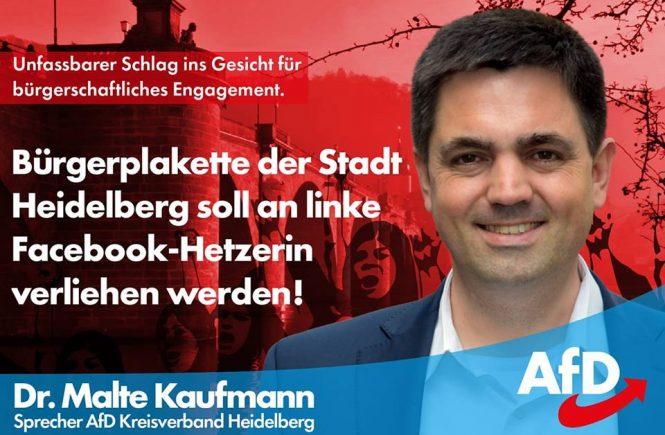 Bürgerplakette an linke Facebook-Hetzerin Dr. Malte Kaufmann AfD Heidelberg