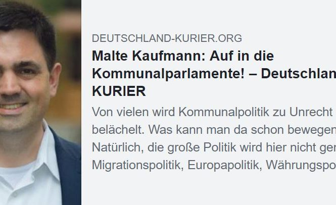 Auf in die Kommunalparlamente Dr. Malte Kaufmann AfD