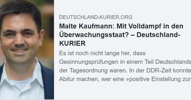 Dr. Malte Kaufmann Mit Volldampf in den Überwachungsstaat