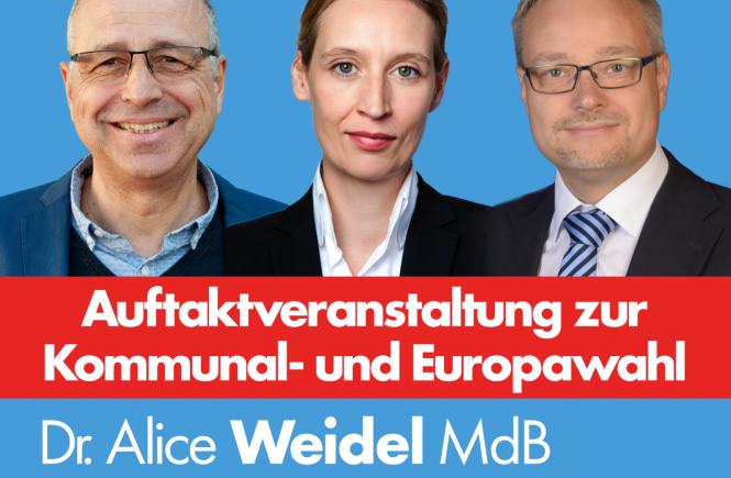 Alice Weidel, Marc Bernhard und Matthias Niebel bei der AfD Heidelberg