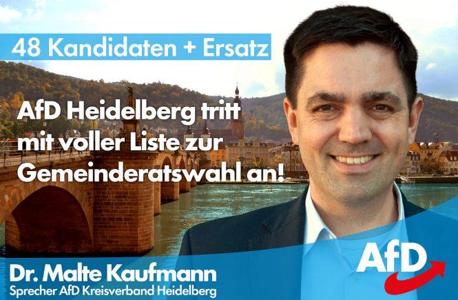 Heute hat der Gemeindewahlausschuss der Stadt #Heidelberg unsere Liste für die #Gemeinderatswahl bestätigt. Wir sind stolz darauf 48 hervorragende Kandidaten präsentieren zu können. Die Veröffentlichung der Kandidaten erfolgt demnächst. Wählt in Heidelberg Liste 8 - wählt #AfD!