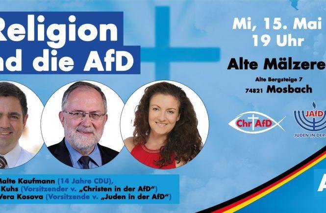 Dr. Malte Kaufmann, Joachim Kuhs, Vera Kosova in Mosbach 15.5.2019